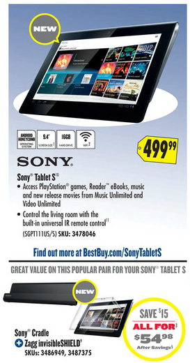 Sony Tablet S Best Buy Flyer